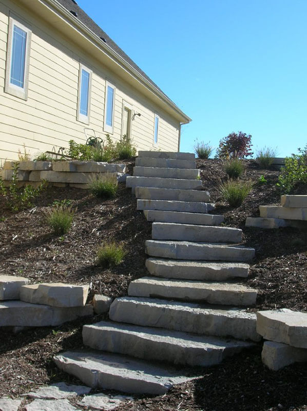 Stone Steps lined by shrub gardens