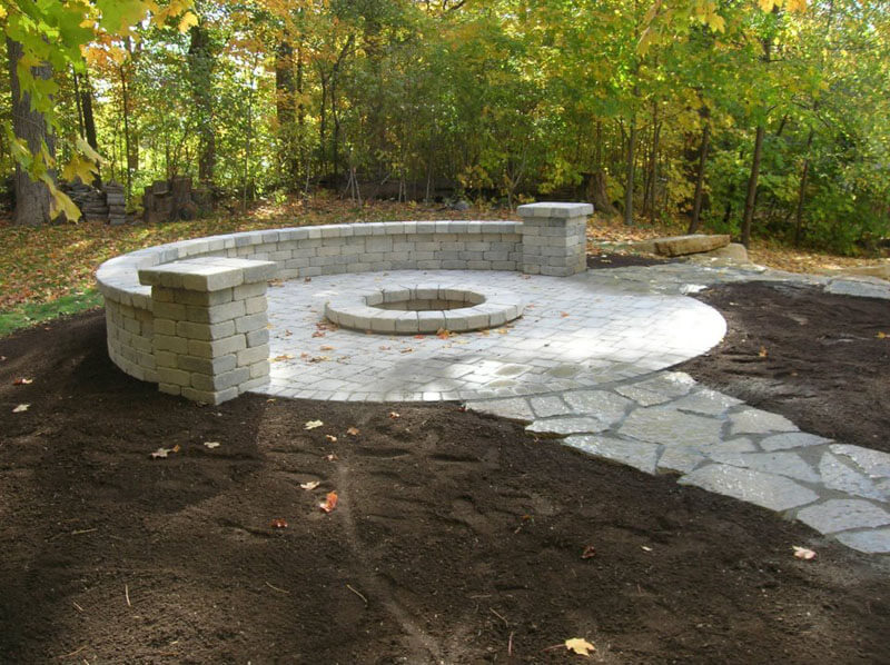 Stone Path to Stone Fire Pit and Bench