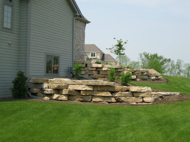 Tiered Garden Beds Lined with Stone